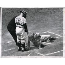1956 Press Photo Braves Catcher Del Rice Picks Himself Up After Being Hit In Toe