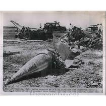 1951 Press Photo Remains T33 plane scattered yards after crash 2 pilots killed