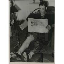 1936 Press Photo Paul Dean of St.Louis Cardinals injured in Automobile accident.