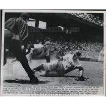 1950 Press Photo Chicago Catcher Mickey Owen tags Phillies 2nd baseman Goliat.