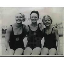 1934 Press Photo Dorothy Poynton Hill, Katherine Rawls & Mary Horger winners of