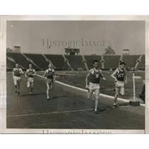 1929 Press Photo Erwin Miller, Harold Bogrow, Clyde Graf, 4A Track Meet New York
