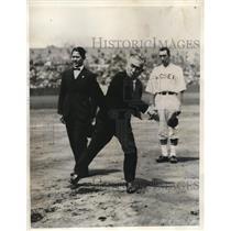 1935 Press Photo Genji Matsuda Throwing First Ball at Meiji Shrine Diamond Tokyo