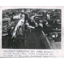 1927 Press Photo Jimmy McDonald riding his horse along side Governor Stevenson