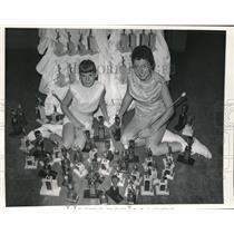1958 Press Photo Kathleen Walkanoff & Pat Clack with 80 Trophies Baton Twirling