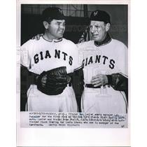 1952 Press Photo Max Lanier, Leo Durocher, New York Giants Training, Phoenix