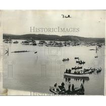 1929 Press Photo Yale winning the annual Harvard-Yale boat race at Thames River