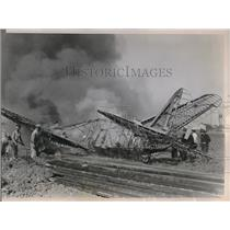 1936 Press Photo Wreckage of an airliner burst into flames bound for Detroit