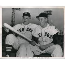 1953 Press Photo Manager Steve O'Neill, Les Moss, Boston Red Sox - nes10062