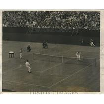 1927 Press Photo Bill Tilden vs. Cochet at Davis Cup Tennis Matches in Philly