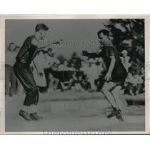 1939 Press Photo Joe Connor & Wilbur Marx in Log rolling contest