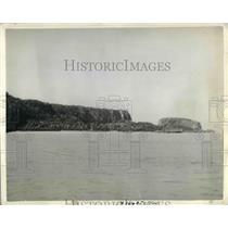 1935 Press Photo Guam island coastline in the Pacific ocean