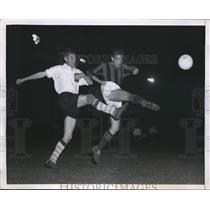 1953 Press Photo Soccer Stars Schaap of France and Burini of Italy - nes13224