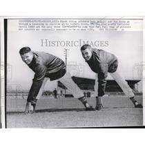 1961 Press Photo Tuscon, Ariz. Pitchers Gary Bell & Jim Perry ,Indians training