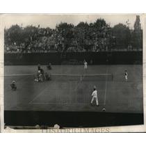 1928 Press Photo US-France Lawn Tennis, John Von Ryn vs Jacquos Brugnon