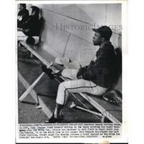 1971 Press Photo Alex Johnson On Bench Watches Angels Play White Sox Anaheim CA