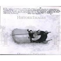 1958 Press Photo Major Dick Severino and Lt. John Camden in Germany bobsledding