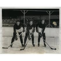 1931 Press Photo Clarence Peel.Ben Beal, John Puynam of Harvard hockey