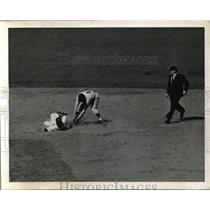 1941 Press Photo Yankee John Sturm slide to 2nd vs Joe Cronin of Red Sox
