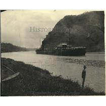 1922 Press Photo Weird Photo of Chained Up Girl and Ship in The Culebra Cut