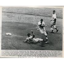 1949 Press Photo Cubs Roy Smalley vs Giants Bill Rigney - nes17227
