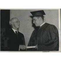 1938 Press Photo William De Correvont receiving his diploma from W.H Wright