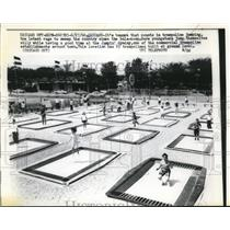 1960 Press Photo Chicago Ill. Jumping trampoline convention
