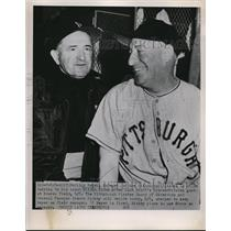 1951 Press Photo BostonBilly Meyer mgr of Pirates & coach Milton Stock