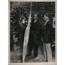 1929 Press Photo Pilot James L Giffin Theodore Lundgren Wright Whirlwind Motors