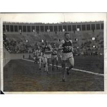 1928 Press Photo Finish of first qualifying heat of the 440 yard race at the