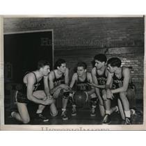 1940 Press Photo Georgetown U basketball Schmitt,Kiernan, Giebel, Rizzi,OGrady