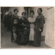 1923 Press Photo Four Japanese Women in Traditional Dress