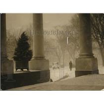 1922 Press Photo Snowy Winter Scene from White House Front Porch, Washington DC