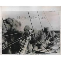 1934 Press Photo three gun salvo aboard Deutschland during Baltic sea practices