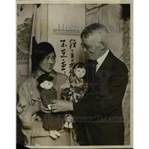 1927 Press Photo Tami Yanamuro & Dr. Henry Topping Renew Acquaintance