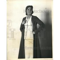 1932 Press Photo Model in Button Up Coat and Dress