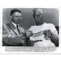 1955 Press Photo Joe Ceschger Boston Braves speedballer & Scott Baillie writer