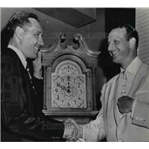 1956 Press Photo Stan Musial(right) player of decade by congratulated Bob Feller