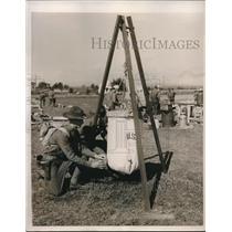 1939 Press Photo Plattsburg, NY Co. B 101st Engineers on manuevers