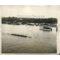 1928 Press Photo Annual Varsity Rowing Classic Race Harvard vs Yale New London