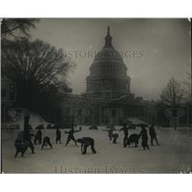 1925 Press Photo White House in snowstorm