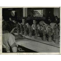 1941 Press Photo Gas masks for army trainees in the process of manufacture