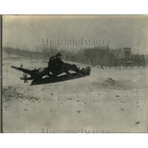 1923 Press Photo Winter Snow Tobogganing / Sledding, Montreal Canada