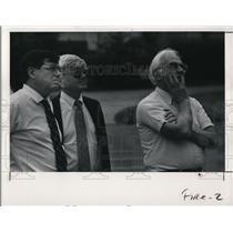 1991 Press Photo Adelbert Hall, John Angus and Norman Rushforth