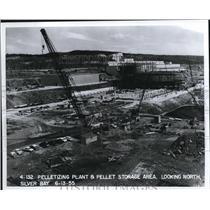 1955 Press Photo Pelletizing Plant and Pellet Storage area at Sliver Bay