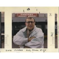 1992 Press Photo Tracy Blakeslee outside his shop, Fantasy Adult Video