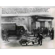 1931 Press Photo Oran, Alergria rioters set fire to motorbike - nee00428