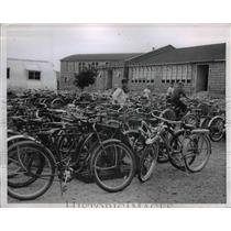 1954 Press Photo Several bikes at the American School yard