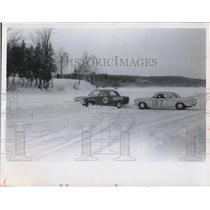 1970 Press Photo Two race cars on a snowy track