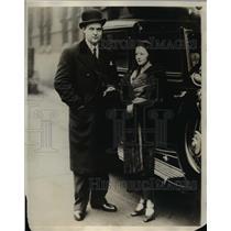 1930 Press Photo Miss Frances Kier and Baron Jean Pellenac  - nee01176